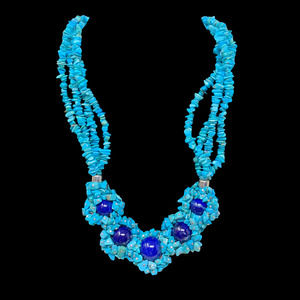 Vtg Jay King 925 Sterling Silver & Lapis Turquoise Chip Necklace DTR Stamp
